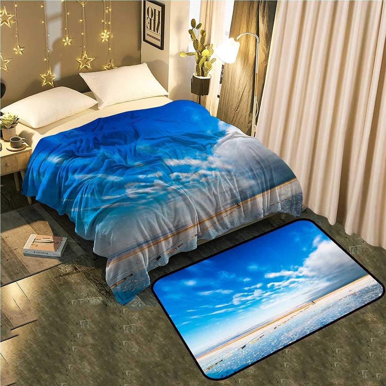 UNOSEKS-Home Bedside Blanket Doormat suitTea Card Saline Lake Between Heaven and Earth Cozy and Durable Blanket 70 x90  Mat 39 x19