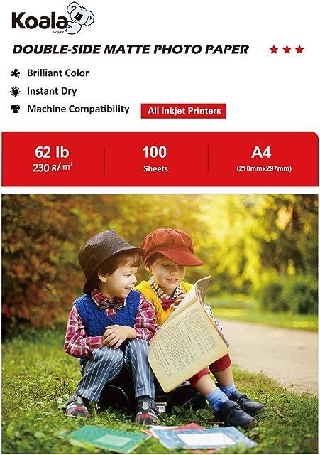 KOALA Papel fotográfico de doble cara mate para inyección de tinta A4 210x297 mm 100 hojas 230 g/m²