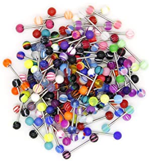 CrazyPiercing Wholesale 14g Tongue Rings Barbells Assorted Colors (110 PCS Acrylic Ball) (Stainless Steel)