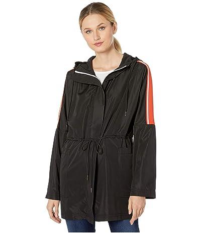 Elliott Lauren Zip Front Hooded Anorak Jacket with Contrast Tape (Black) Women