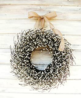 Farmhouse Wreath, Fall Wreath, Winter Wreath, Summer Wreath, Farmhouse Decor, CREAM Wreath, Antique White Wreath,Year Round Wreath, Wedding Décor, Christmas Wreath, Housewarming Gift, Home Decor