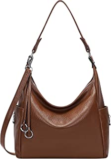 OVER EARTH Genuine Leather Purses and Handbags Shoulder Bags For Women Ladies Hobo Purse Crossbody Bag Large(O148E Dark Br...