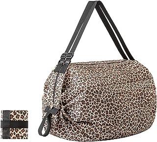 حقيبة من القماش الخشن قابلة للطي للنساء للسفر، حقيبة شاطئ وحملات للنساء، حقيبة رياضية للسيدات, (جلد الفهد), Small