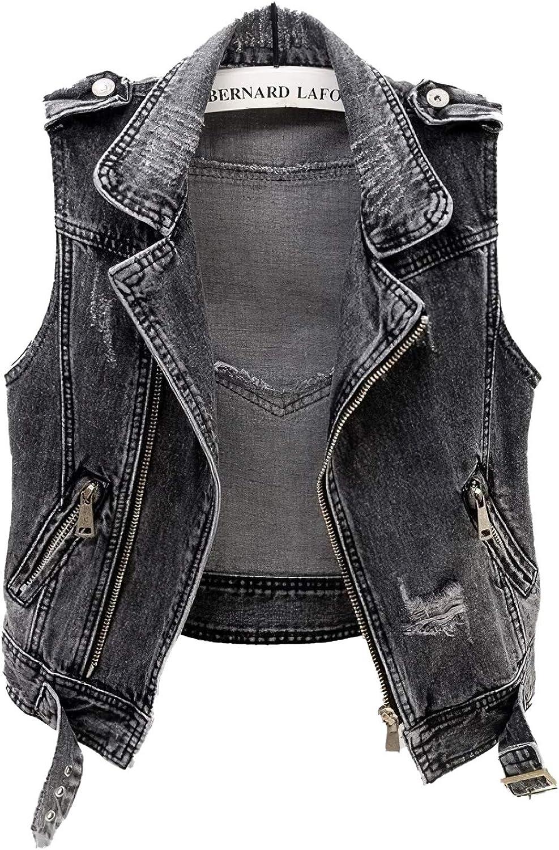 TheyLook Women's Lapel Black Denim Vest Classic Zipper up Sleeveless Outerwear Waistcoat Jacket