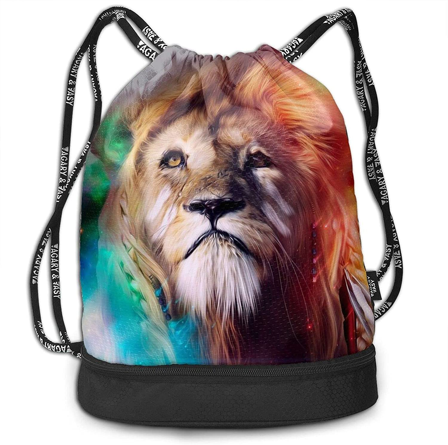 Drawstrings Backpack Bag Colorful Lion Printed Long-awaited Water Resistant Purchase