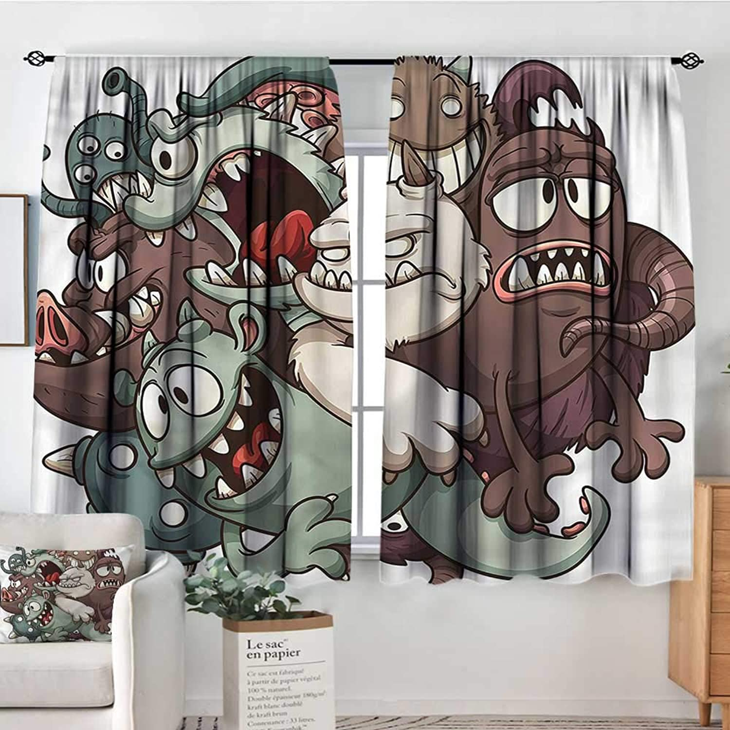 Kids,Boy's Iving Room Curtain Fictional Scary Fun Characters 42 X63  Indo Treatments for Short Indo