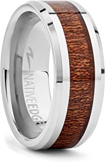Native Edge Tungsten Rings for Men - Luxurious Tungsten & KOA Wood Male Ring with Marine Grade Finish - Mens Hawaiian Style Wedding Band - Promise/Engagement Tugsten Ring Bands for Men Women & Teens