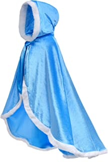 Fur Princess Hooded Cape Cloaks Costume for Girls Dress Up 2-12 Years