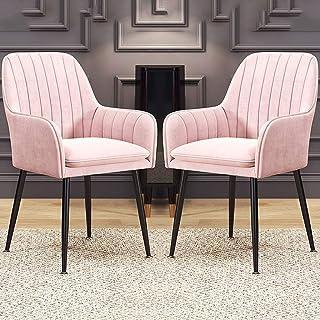 LSRRYD Pack De 2 Dining Chairs Sillas Tapizadas Sillas Cocina Nórdicas Terciopelo Sillas Bar Silla De Oficina con Respaldo Y Apoyabrazos Y Patas De Metal (Color : Light Pink)