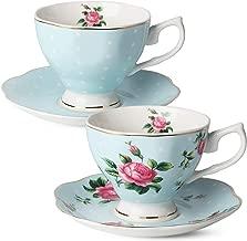 BTäT- Floral Tea Cups and Saucers, Set of 2 (Blue - 8 oz) with Gold Trim and Gift Box, Coffee Cups, Floral Tea Cup Set, British Tea Cups, Bone China Porcelain Tea Set, Tea Sets for Women, Latte Cups