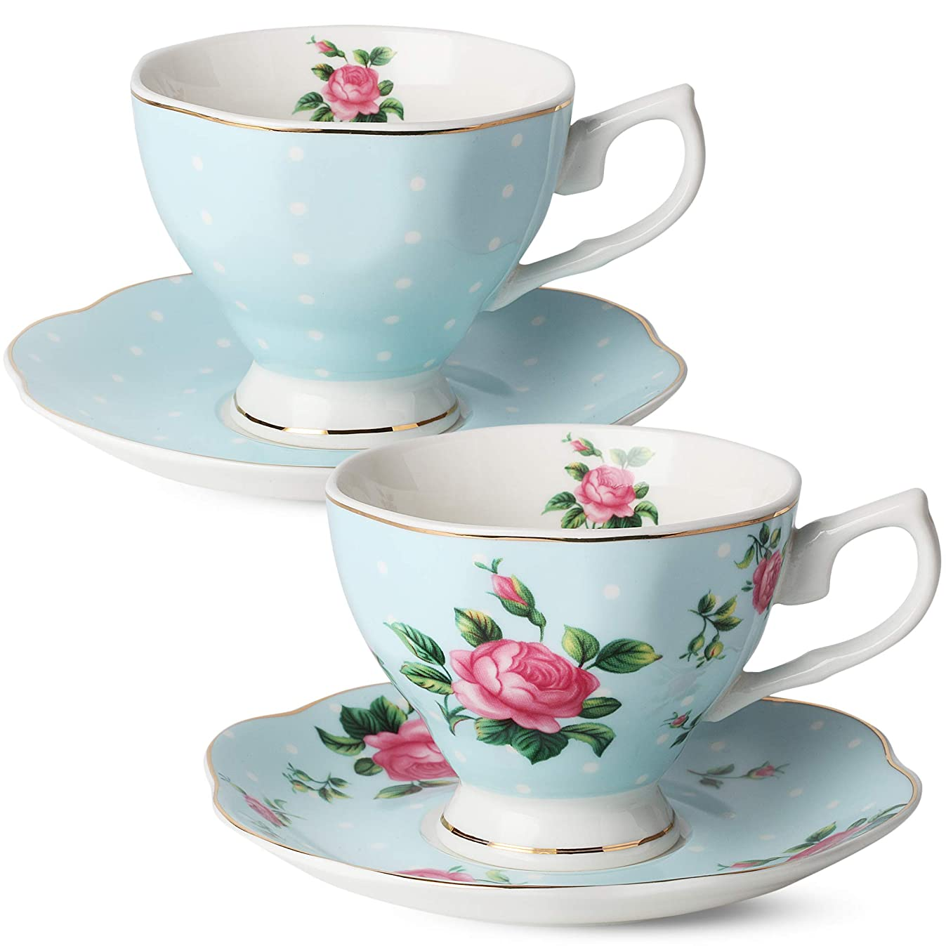 BT?T- Floral Tea Cups and Saucers, Set of 2 (Blue - 8 oz) with Gold Trim and Gift Box, Coffee Cups, Floral Tea Cup Set, British Tea Cups, Bone China Porcelain Tea Set, Tea Sets for Women, Latte Cups