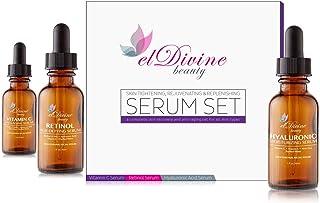 Eldivine Beauty Set De Suero | RETINOL 2.5% VITAMINA C 20% y ÁCIDO HIALURÓNICO (1 oz cada uno) | Mejor Tratamiento Para l...