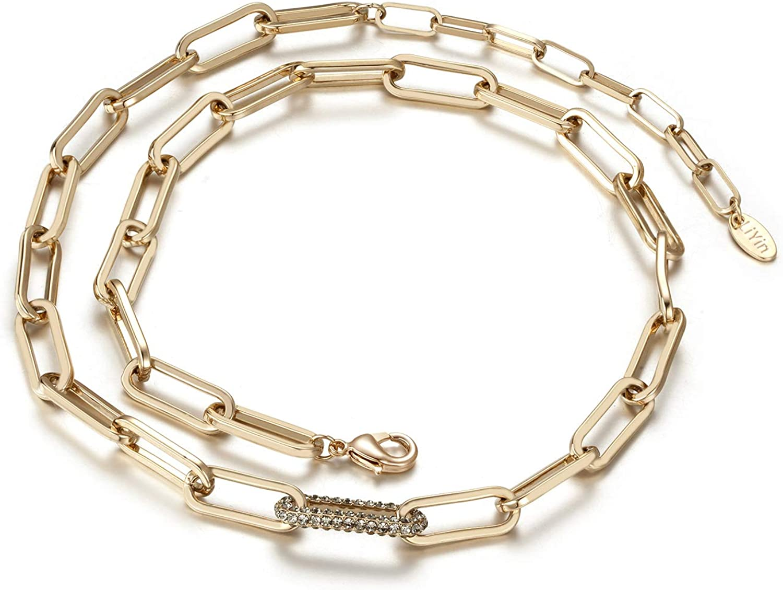 Dec.bells Jewellery Paperclip Chain Choker Necklace Dainty Cubic Zirconia Link Chain Necklace for Women Men