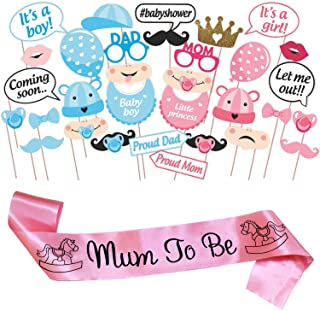 WOBBOX Baby Shower Combo of Photo Booth Party Props and Sash - Combo ES