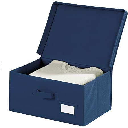 WENKO Boîte de rangement Air L - toison respirante, Polypropylène, 44 x 19 x 33 cm, Bleu
