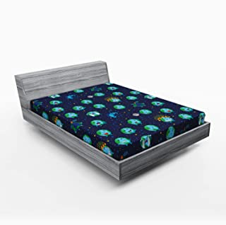 Ambesonne Emoji Fitted Sheet, Planet Earth as Smiley Angry Happy Sad Cheerful Faces Expressions and Star Backdrop, Soft Decorative Fabric Bedding All-Round Elastic Pocket, Full Size, Blue Green