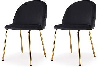M60 Modern Velvet Chair- Set of 2 Piece Velvet Upholstery Gold Frame Chair Set- Steel Base Side Chair- Elegant and Comfortable Design - Ideal for Dining Room- Multiple Colors Available (Black)