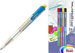 Pentel Arts 8 Color Automatic Pencil, Assorted Accent Clip Colors, 1 Pencil (PH158) (1 Pencil + Refills)