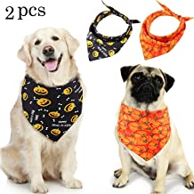 SATINIOR 2 Pieces Halloween Dog Bandana Pets Bib Scarf Adjustable Triangle Cat Bandana for Large, Medium and Small Pets