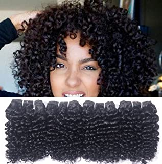 Brazilian Kinky Curly 4 Bundles 8 Inch 50g/pc Kinkly Curl 8A Grade Virgin Human Hair Weave Remy Unprocessed Short Remi Extensions Natural Black Color Total 200g