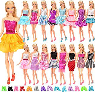 Miunana mucho 22 ARTICULOS: 12 Piezas Vestido Fashion Falda Mini Fiesta Ropas Casual + 10 Zapatos Accesorios como Regalo Estilo al Azar para 11.5 Pulgada 30CM Muñeca