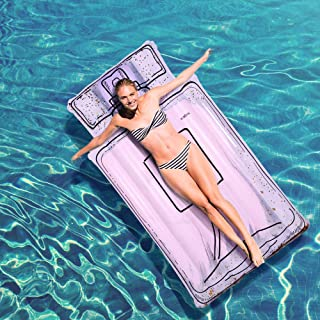 """INSGIRL 5.7ft Sparkling Perfume Bottle Float Inflatable Swimming Lounger,  69"""" Large Size Perfume Pool Float with Golden Glitters,  Pink Inflatable Pool Raft for Adults and Kids,  Swimming Pool Toys"""