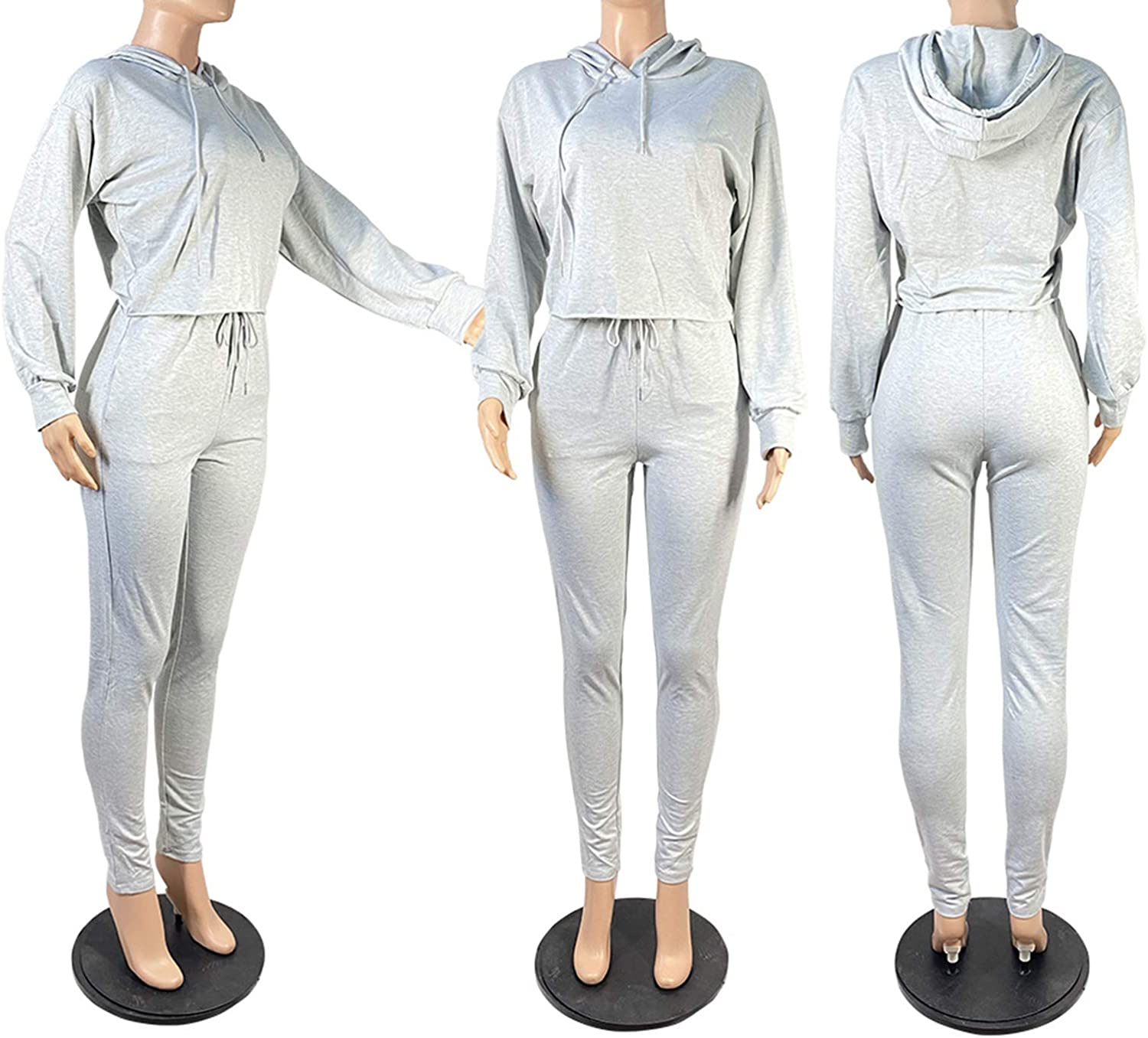 2 Piece Sweatsuit for Women Long Sleeve Crop Pullover Hoodie Tops Drawstring Pocket Sweatpant Outfit