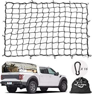 Cargo Net MICTUNING 5x7 Feet Heavy Duty Truck Bed Bungee Nets Stretches to 10x14 Feet with 16pcs D Shape Aluminum Carabiners Universal for Pickup Truck SUV Trailer Boat RV