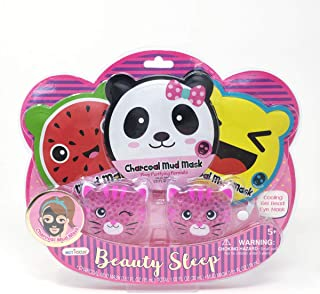 Hot Focus Beauty Sleep, Critter. 2 Charcoal Face Masks, 1 Pink Mud Face Mask, 1 Cooling Gel Bead Eye Mask. Spa Makeup Kit. Gentle Formulation & Special Design for Kids/Girls. Perfect for Spa Day.