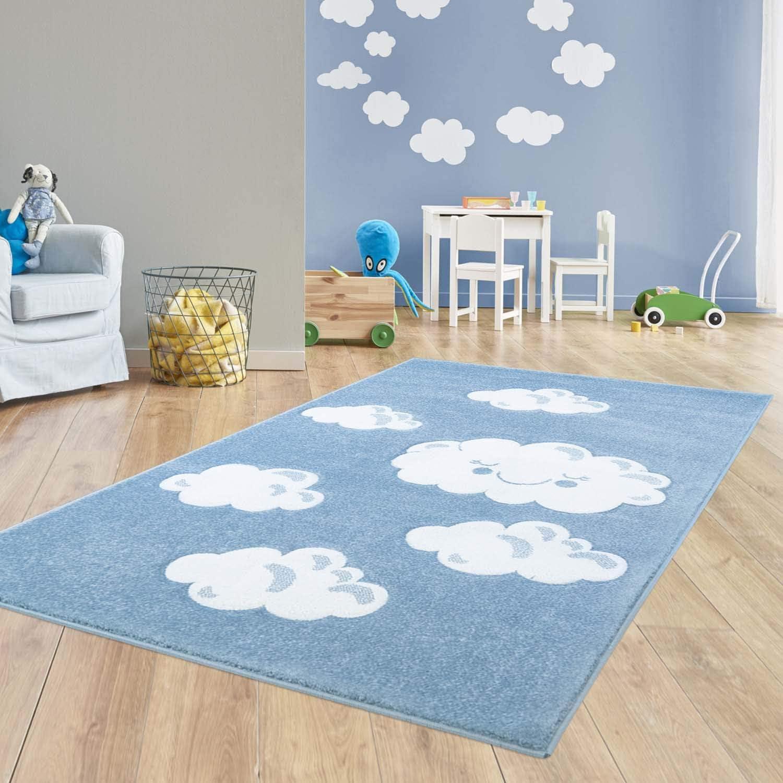 Taracarpet Kinder Teppich Teppich Teppich für das Kinderzimmer Bueno Hochwertig mit Konturenschnitt Blau Grünräumte Wolken 080x150 cm B07GH3K9ST bea3fe
