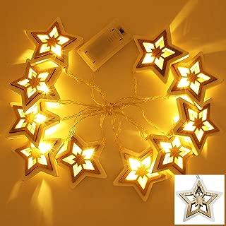SAND MINE Wooden Star String Lights, Rustic Star String Lights, Wood Star Shaped Lights for Home, Party, Christmas, Wedding, Garden, Warm White