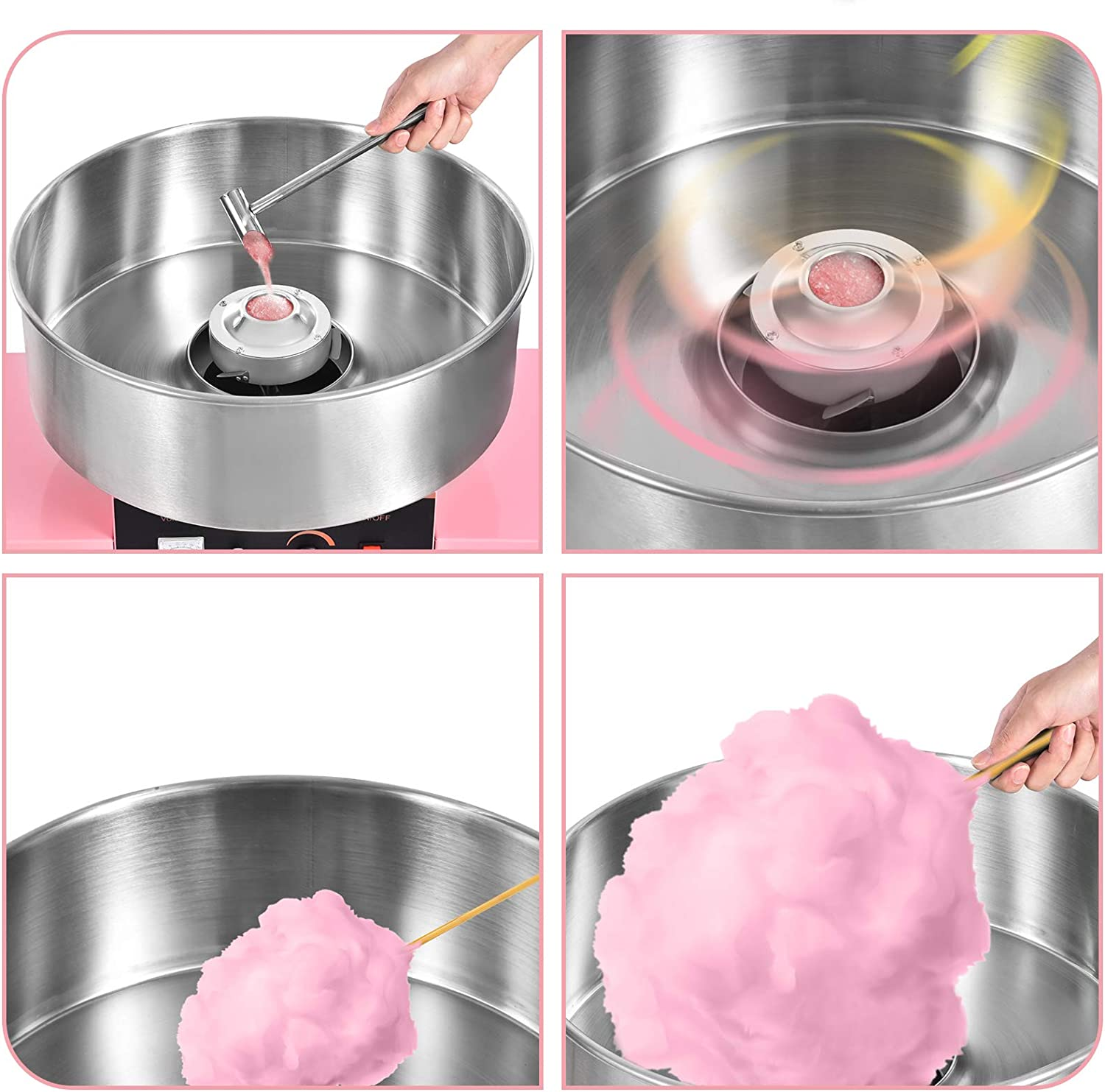 Ankishi Commercial Cotton Candy Machine with Cart 20.5 Inch Stainless Steel Electric Candy Floss Maker for Various Parties
