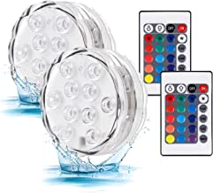 Submersible Led Battery Operated Light with Remote Waterproof Underwater Fountain Pond Pool Lights 16 Color RGB Changing D...