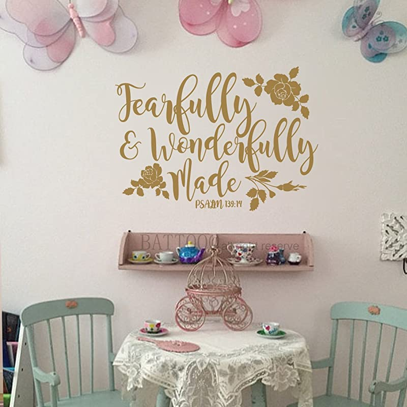 BATTOO Fearfully And Wonderfully Made Decal Bible Verse Vinyl Wall Decal Scripture Wall Decal Nursery Decal For Girls Boys Bedroom Vinyl Wall Decal 16 W By 11 5 H Gold