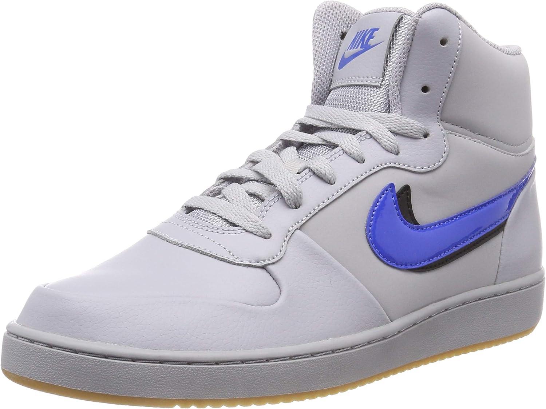 Nike Men's Ebernon Mid Prem Fitness shoes, Multicolour (Wolf Grey Signal bluee Black 001), 7.5 UK