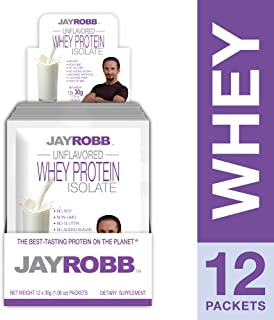 Jay Robb - Grass-Fed Whey Protein Isolate Powder, Outrageously Delicious, Unflavored, 12 Packets