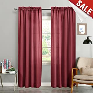 jinchan Privacy Semi Sheer Curtains for Bedroom Window Curtain Set 2 Panels Linen Textured Casual Weave Sheers for Living Room 95 Inch Length Burgundy Red
