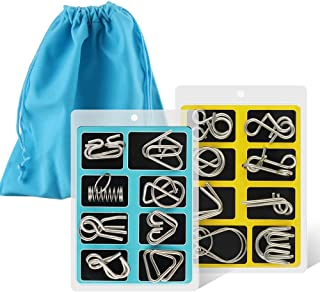 Coogam Metal Wire Puzzle Set of 16 with Pouch,Brain Teaser IQ Test Disentanglemen Iron..