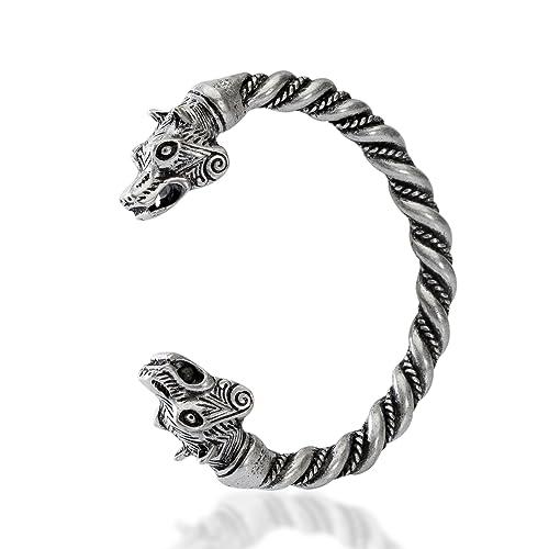 970bcf8f9571e QIANJI Berserker Bear Heads Bracelet Bangle Viking Cuff Wristband Jewelry