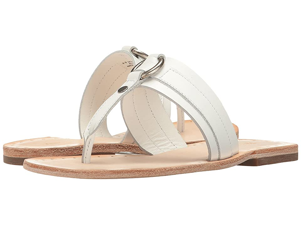 Frye Avery Harness Thong (White Smooth Polished Full Grain) Women