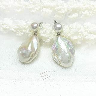 Large Baroque Pearls 925 Silver Earrings, Freshwater Cultured Big Pearls And Sterling Silver Hook Earrings, Real Pearl Statement Earrings