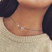 Yienate Collar Gargantilla para mujeres adolescentes de moda simple amor en forma de corazón con huella de gato colgante de 8 caracteres para niñas (plata)