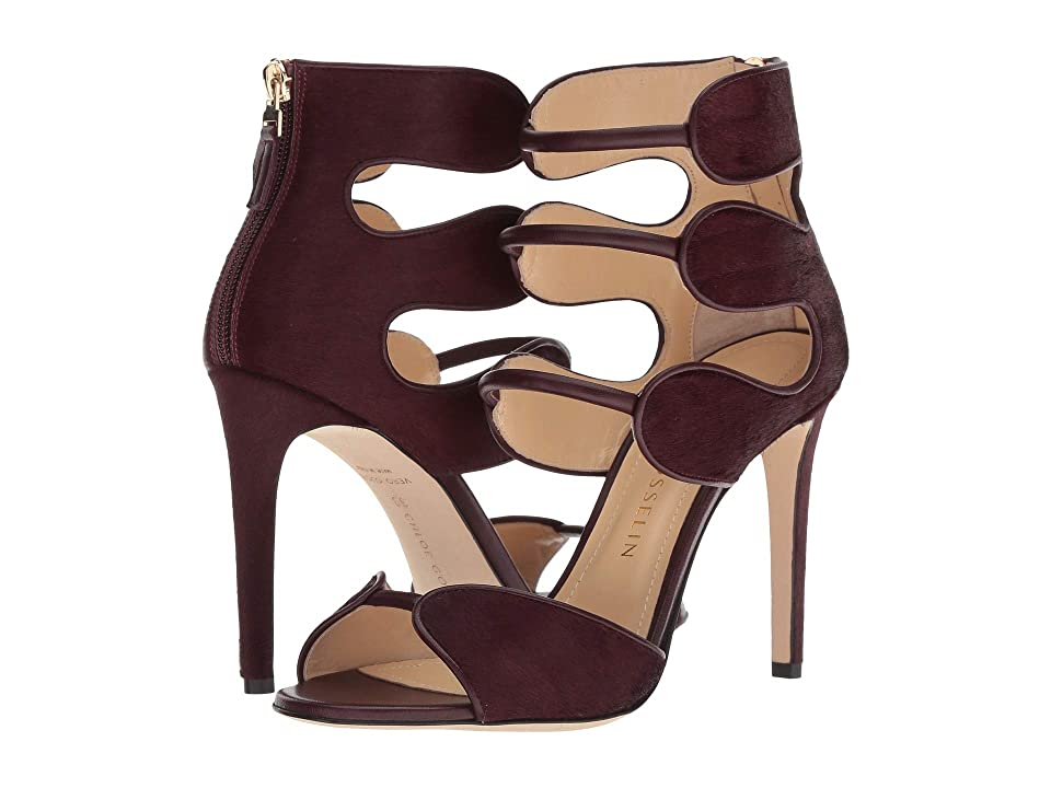 CHLOE GOSSELIN Larkspur Calf Hair Open-Toe Sandal w/ Zip (Bordeaux) High Heels