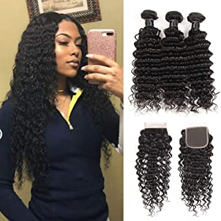 Brazilian Virgin Deep Wave Hair Bundles With Closure 9A Grade 100% Unprocessed Deep Curly Human hair 3 Bundles With 44 Lace Closure Free Part(18 20 22+16closure)