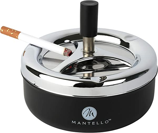 Mantello Round Push Down Cigarette Ashtray With Spinning Tray Large Black