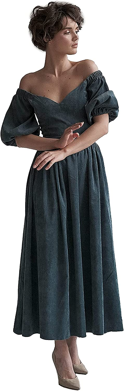 Lipinskaya Brand Long Off The Shoulder Dress - Corduroy Maxi Dress – Women Midi Dress