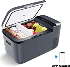 ICECO GO20 Dual Zone Portable Refrigerator with Danfoss Compressor, 20 Liter/21 Quart, DC 12/24V, AC 100-240V, 0℉ to 50℉, Mini Fridge Cooler Refrigerator for Outdoor, Home Use, Driving, Gray