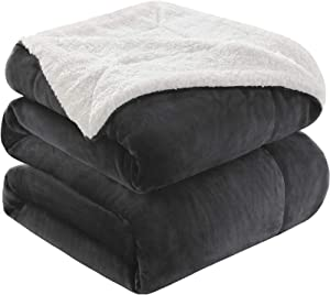KAWAHOME Sherpa Fleece Blanket Super Soft Extra Warm Thick Winter Blanket for Couch Sofa Bed Queen Size 90 X 90 Inches Dark Grey