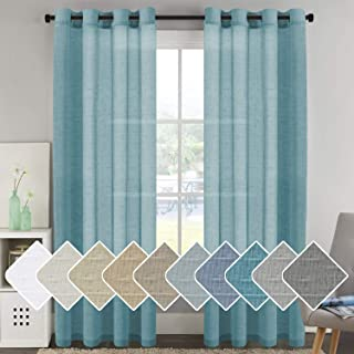 Elegant Natural Linen Curtain Panels Energy Efficient Semi - Sheers Linen Curtains/Nickel Grommet Window Treatments Panels for Patio Glass Door/Balcony (Set of 2, Turquoise, 52