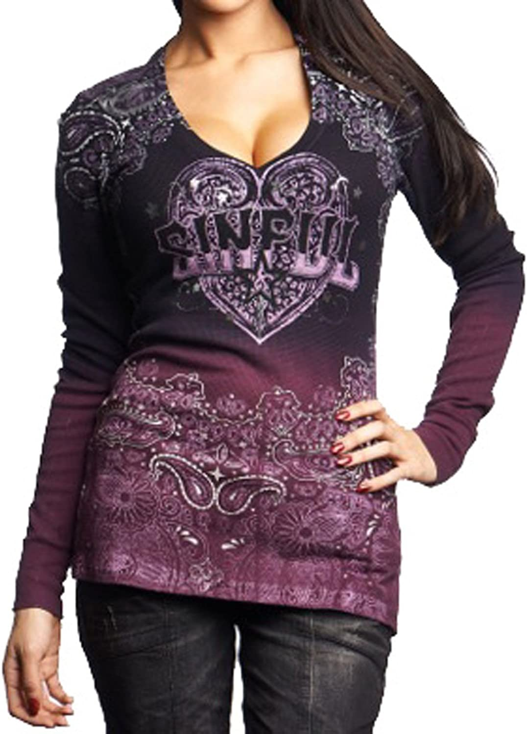 Affliction Sinful Women Tee Cowgirl Gun & pink L s Vneck in Pink Brush Wash